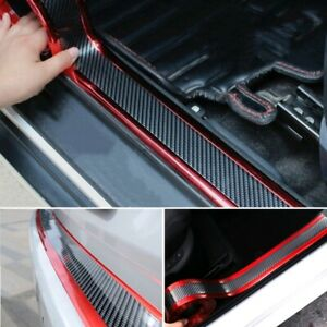 Car Stickers Carbon Fiber Red Door Sill Protector Scuff Plate Trim Accessories