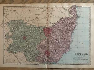 1884 Suffolk Original Antique Hand Coloured County Map by Edward Weller