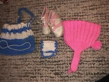 5 Vintage Doll Accessories- 2 Crocheted Purses Necklace Pink Shoes & Cap