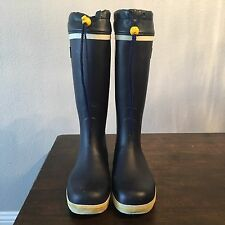 Gill Boots Tall Fishing/Yachting Boots Navy Blue Rubber Size 38 Men's 6 Wms 8
