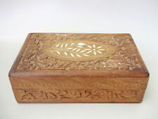 Vintage hand carved wood box with inlay ,wood box ,home decor,jewelry box