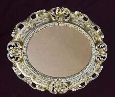 Picture Frame Baroque Gold-White Oval 45x37 Antique Photo with Glass