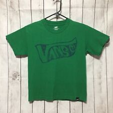 Vans Green T Shirt Boys M Graphic Tee Short Sleeve Crewneck Blue Logo Spell-out