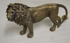 More details for reflections bronzed large standing lion statue by leonardo bnib lion ornament