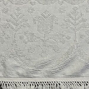 """Fieldcrest Twin Bed Spread White Chenille 105"""" X 72"""" Fringed Floral Hobnail Vntg"""