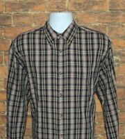 Saddlebred Mens Button Down Shirt Size Large Multi Color Plaid Long Sleeve