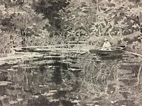 1887 Boating Scene Pond Nature Rodriguez Antique French Art Print Ready to Frame