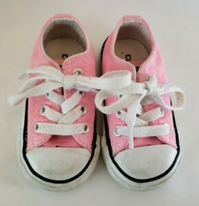 Converse All Star Toddler Size 4 Pink White Lace Sneakers Shoes Baby Girl Low