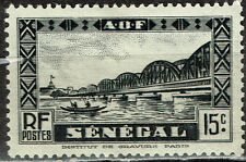 French Senegal African Railroad Bridge stamp 1947