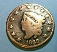 1828   LARGE CENT W/ Matron Head & Large Date-- 191 years old