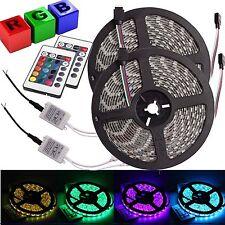 2x 5M 5050 SMD RGB 300 LED Strip Light Colorful Waterproof 24 Key Remote DC 12V
