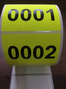 76 x 51mm Fluorescent Yellow Sequentially / Consecutively Numbered Labels