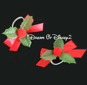 Build-A-Bear CHRISTMAS RED RIBBON HOLLY EAR BOWS Teddy Clothes Hair Accessories