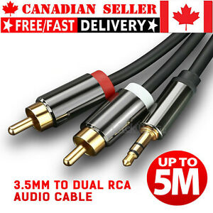 Gold Plated 3.5mm to 2 RCA Male to Male Aux Stereo Audio Cable for TV PC DVD DJ