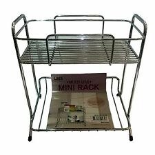 New Home Kitchen Mini Storage 2 Tier Shelf Rack Wire Kitchen Chrome Rack