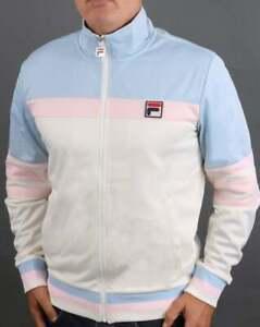 Fila Vintage Men's Vilas Track Top Sky/Pink/Off White - Courto Tracksuit Jacket