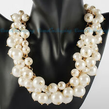 Attractive Gold Chain Lots White Pearl Beads Cluster Choker Necklace