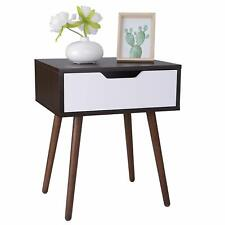 Wooden Side End Table with Sliding Drawer and Smiley Handle for Small Space