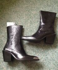 Zara Black Leather Cowboy Boots With Metal Trim Size 7 (40)