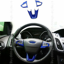 3x High Quality Plastic Steering Wheel Cover Trim Blue For Ford Escape Kuga 2017