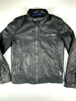 GUESS Los Angeles Mens Faux Leather  Biker Full Zip Jacket Size S Black