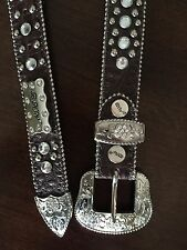 484e264f64b1 BHW Cowgirl Western Brown Embossed Clear Prism Rhinestone Leather Belt -  Small