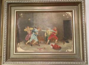 Antikes Gemälde mit Fechtern, Musketieren, Meissonier, 1901