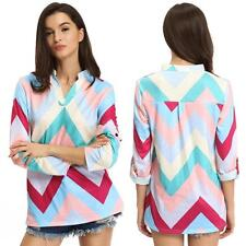 V Neck Blouses Geometric Tops & Shirts for Women
