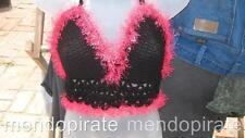 Black HOT Pink Trim Hand Crocheted Halter Lace Back Top Biker Hippie Bralet Vest