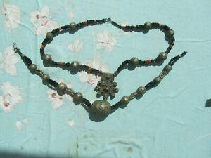 Anciens bijoux ethnique, collier Berbère argent émaillé