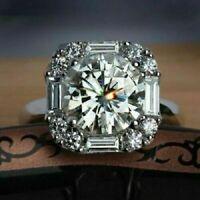 3.20 CT White Round Cut Diamond Antique Engagement Ring Silver VVS1/D
