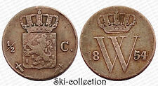 1/2 Cent 1854 Netherlands. Pays-Bas. Bronze