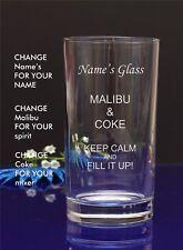 Personalised Engraved Hi ball Tumbler mixer spirit MALIBU AND COKE gift glass 70
