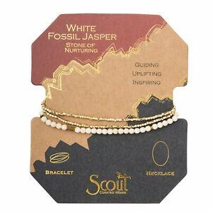 Scout Delicate WHITE FOSSIL JASPER Nurturing Stone Wrap BRACELET NECKLACE SD003
