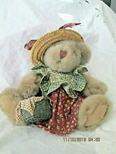 """Russ Berrie Whitley Teddy Bear 7"""" Plush Vintage 1990s Country Girl #4804 Toy"""