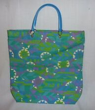 Vintage Mid Century Mod Fabric Tote Bag Blue Green Abstract Sun Geometric Print