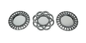 Set of 3 Antique Metallic Finish Geometric Starburst Frame Wall Mirrors