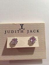$68 JUDITH JACK Cubic Zirconia, Marcasite Sterling Silver Stud Earrings A100
