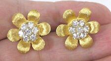 Vintage Jewelry Trifari Flower Form Earrings Rhinestones Goldtone