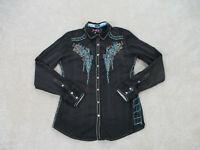 Roar Button Up Shirt Womens Medium Black Blue Club Wear Embroidery Ladies