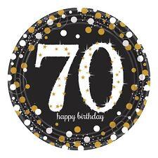 8pk Oro Spumante Festa 70th COMPLEANNO PIATTI di carta 23 cm Servizio da tavola