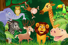 ZOO Cartoon Animals 7x5FT Polyester Photography Background Backdrop Studio Props