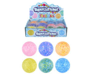 Squeeze Stress Balls with Beads (7cm) 6 Assorted Designs - Pack of 4
