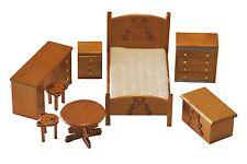 Conjunto dormitorio infantil 8 piezas madera color miel. Escala 1/12. Ref. SP861