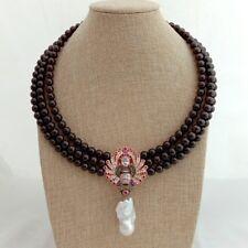 "19"" 3 Rows Round Garnet Choker Necklace Cz White Keshi Pendant"