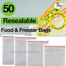 Clear Resealable Zip Lock Sandwich Food & Freezer Bags 17cm x 19cm 50 Pack