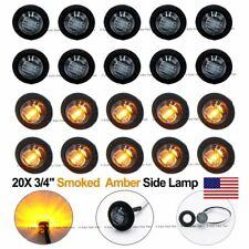 "20X Round Mini 12V DC Amber 3/4"" Black Smoked Side 3 LED Marker Bullet Light US"