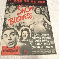 SH250 Vintage Sheet Music Piano Show Business It Had to Be You 1939