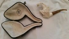 * NEW * MEERSCHAUM HAND CARVED PEGASUS HORSE SMOKING PIPE, BENT LUCITE STEM