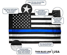 3 x 5 Police Thin Blue Line American Flag (Pole Sleeve) Nylon Embroidered Sewn